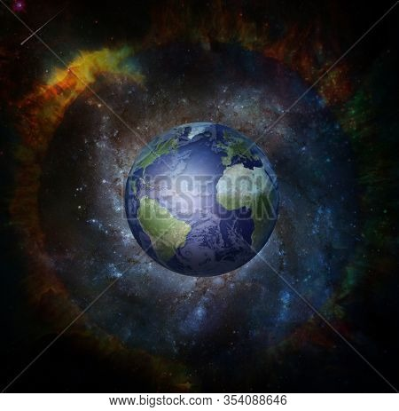 Planet Earth in fantasy space. 3D rendering