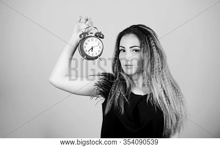 Pretty Girl Managing Her Time. Woman Hold Vintage Alarm Clock. Watch Repair. Time Management. Punctu