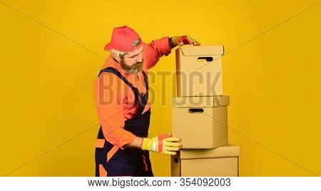 Too Much. Think Outside The Box. Express Delivery Concept. Man Worker In Boilersuit At Box. Moving T