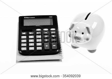 Economics And Profit Management. Economics And Finance. Piggy Bank Pink Pig And Calculator. Exchange