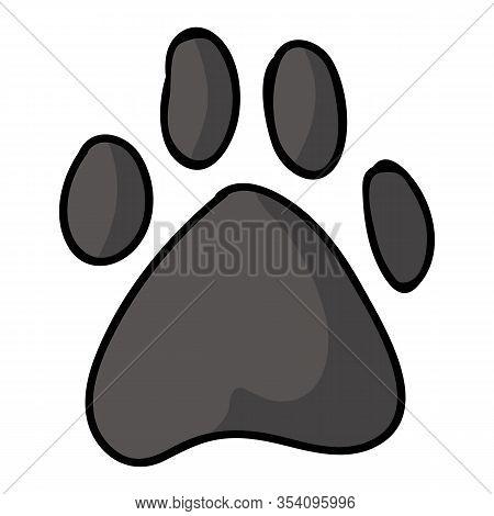 Cute Cartoon Grey Dog Paw Print Vector Clipart. Wildlife Animal Foot Print For Dog Lovers. Stylized