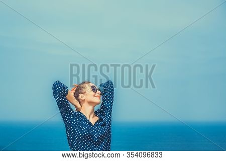 Travel To The Sea, Freedom Enjoyment Concept. Woman Enjoying The Sea. Closeup Portrait Beautiful Hap
