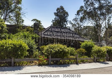 Orbost, Australia - December 20, 2019: View Of The Slab Hut, Built In 1872 As A Family Home With The