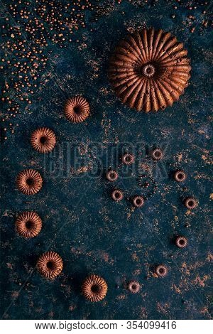 Chocolate Bundt Cakes Arranged In A Spiral