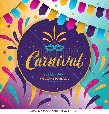 Carnival Poster Design. Rio Carnival Inscription On Dark Background. Vector Colorful Template With F