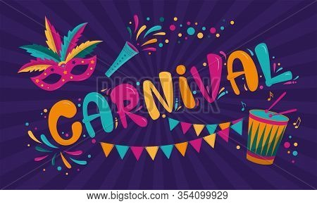 Carnival Poster Design With Dark Purple Background. Rio Carnival Colorful Inscription With Mask, Gar
