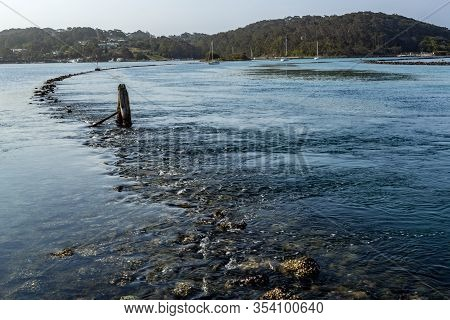 View Of The Wagonga Inlet Emptying Into The Pacific Ocean In Narooma, Nsw South Coast, Australia