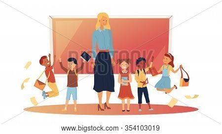 Back To School Concept. School Lesson. Little Students And The Teacher At The Blackboard. Classroom