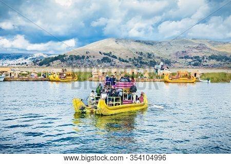 Uros, Peru - Jan 5, 2019. Uros floating islands on Titicaca lake in Puno, Peru, South America.
