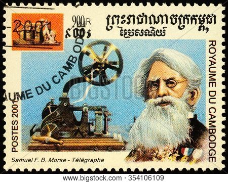 Moscow, Russia - March 01, 2020: Stamp Printed In Cambodia, Shows Samuel Morse (1791-1872), American
