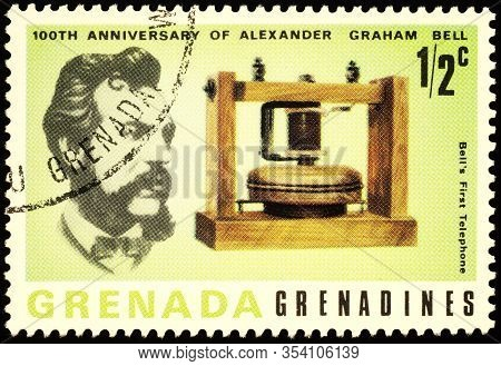 Moscow, Russia - March 01, 2020: Stamp Printed In Grenada, Shows Alexander Graham Bell (1847-1922),