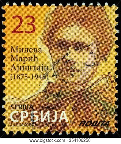 Moscow, Russia - February 26, 2020: Stamp Printed In Serbia, Shows Mileva Maric-einstein (1875-1948)