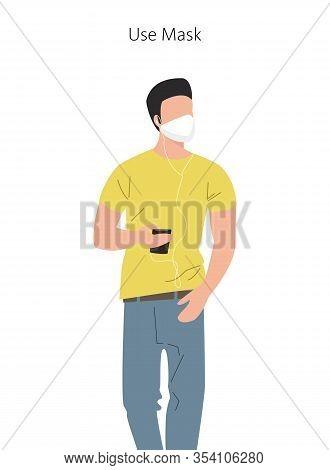Man Wearing Protective Medical Mask For Prevent Virus. Vector Illustration.