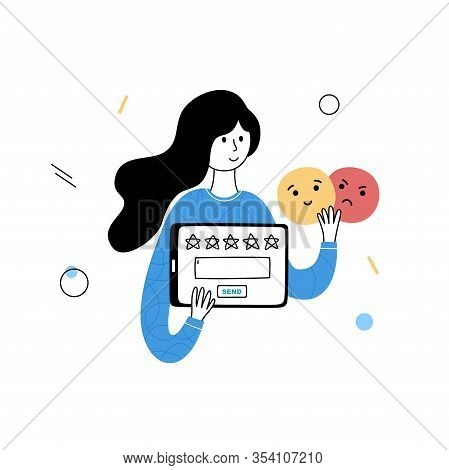 Vector Isolated Illustration Of Online Review And Customer Experience Concept. Girl With Tablet Go R