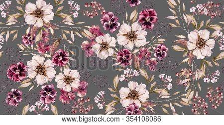 Watercolor Vintage Flower Seamless Pattern On Luxury Gray Print. Handpainted Watercolour Floral Patt