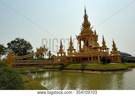Chiang Rai, Thailand - February.10.2020: View Over Golden Building In White Temple Rong Khun Temple,