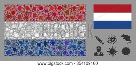 Coronavirus Mosaic And Flat Netherlands Flag. Mosaic Vector Is Formed With Netherlands Flag Pictogra