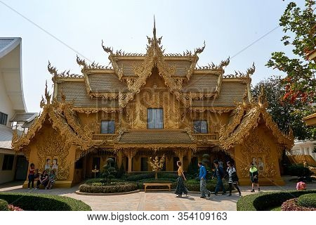 Chiang Rai, Thailand - February.10.2020: Golden Building In White Temple Rong Khun Temple, Chiang Ra