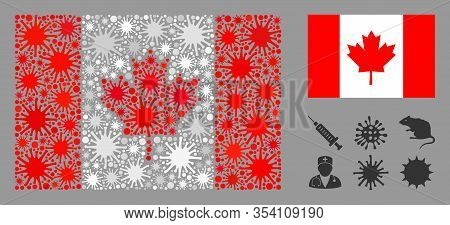 Coronavirus Mosaic And Flat Canada Flag. Mosaic Vector Is Designed With Canada Flag Icon And With Ra