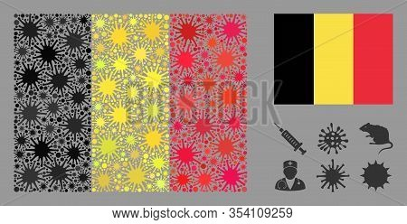 Coronavirus Mosaic And Flat Belgium Flag. Mosaic Vector Is Designed With Belgium Flag Pictogram And