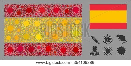 Coronavirus Mosaic And Flat Spain Flag. Mosaic Vector Is Designed With Spain Flag Icon And With Rand