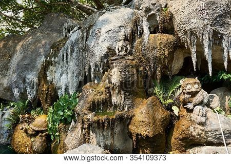Chiang Rai, Thailand - February.10.2020: Stone Wall With Art Sculptures In White Temple Rong Khun Te