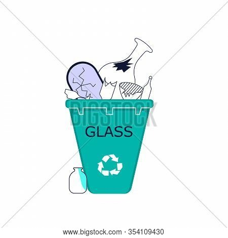 Glass Waste In Recycling Bin. Discarded Glassy And Vitreous Objects. Flat Line Art Vector Illustrati