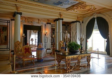 PALM BEACH, FL, USA - JAN. 2, 2015: Grand Hall of Whitehall Mansion by Henry Morrison Flagler, built in 1902 with Beaux Arts style in Palm Beach, Florida FL, USA.
