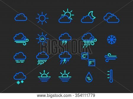 Collection Of Weather Conditions Icons With Two Different Contrasting Colors, Such As Cloudy, Rain,
