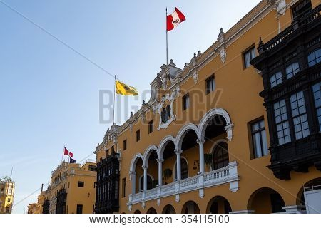 Lima / Peru - May 10 2016: The Front Of The Municipal Building In The Plaza Mayor De Armas In Lima,