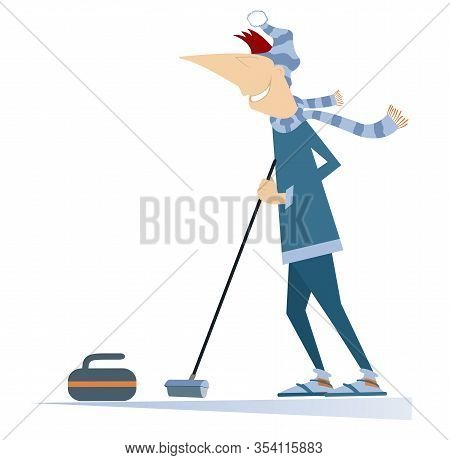 Smiling Young Man Plays Curling Illustration. Man Curling Player With Curling Brush And A Curling St