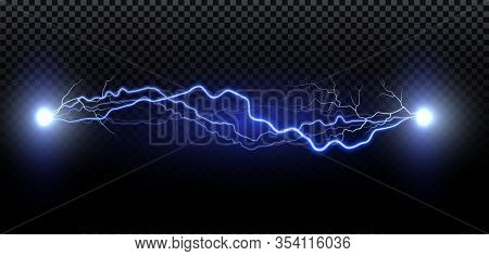 Realistic Lightning. Thunder Spark Light On Transparent Background. Illuminated Realistic Path Of Th