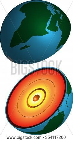 Cutaway Planet Earth With Rock Layers, Realistic 3d Vector Image On A Transparent Background