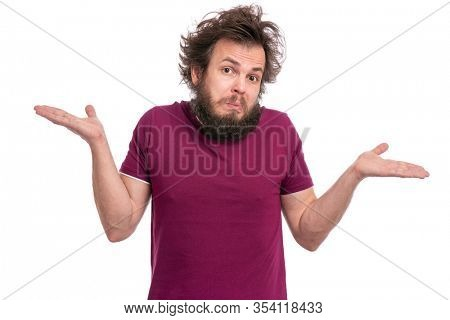 Crazy Bearded Man with funny Haircut showing helpless gesture with arm and hands - I do not know. Male isolated on white background. Shrugging, confused guy making helpless sign and looking at camera.