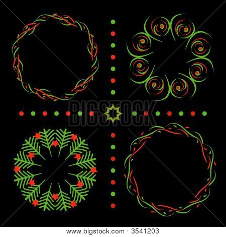Abstract Christmas Wreaths Red And Green