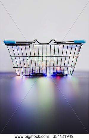 Customer Rewards And Fidelization Incentives, Shopping Basket With Multicoloured Fairy Lights Inside