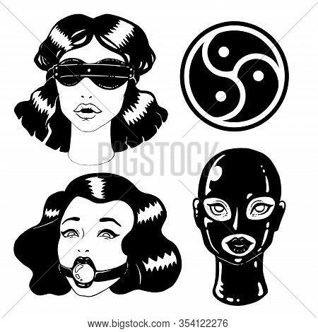 Black And White Bdsm Vintage Ink Woman Illustration
