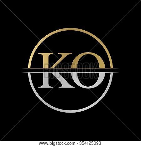 Initial Ko Letter Logo Design Vector Illustration. Abstract Letter Ko Logo Design