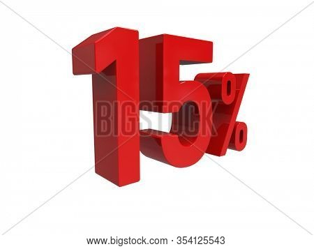 3d Render: ISOLATED Red 15% Percent Discount 3d Sign on White Background, Special Offer 15% Discount Tag, Sale Up to 15 Percent Off, Fifteen Percent Letters Sale Symbol, Special Offer Label