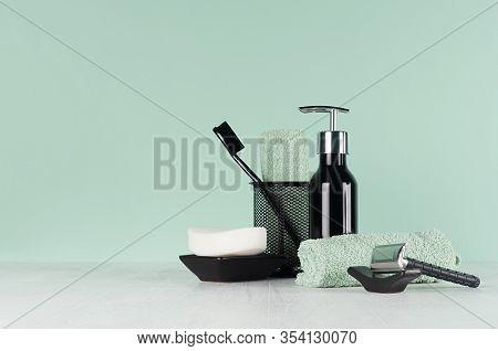 Elegant Men Dressing Table In Trend Green Mint Menthe Color - Black Razor, Toothbrush, Soap, Towel,