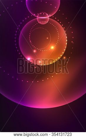 Neon shiny glowing circles with light effects. Techno futuristic abstract background For Wallpaper, Banner, Background, Card, Book Illustration, landing page