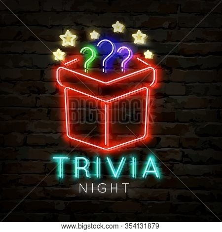 Trivia Night Neon Logo Symbol. Quiz Pub Poster Or Banner Template For Night Or Bar Party With Themat