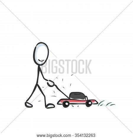 Lawn Mowing By Grasshopper. Shortening Grass In Garden. Hand Drawn. Stickman Cartoon. Doodle Sketch,