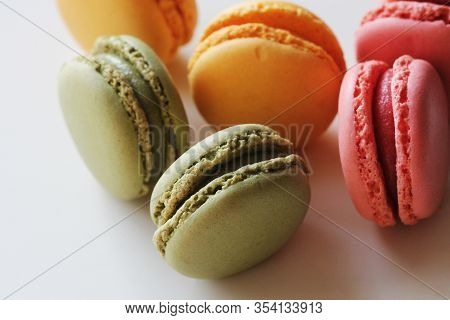 Traditional Colorful French Macarons Are Sweet Meringue-based Confection