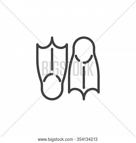 Pair Of Flippers Line Icon. Linear Style Sign For Mobile Concept And Web Design. Swim Flippers Outli