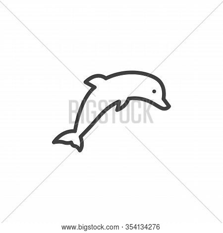 Dolphin Line Icon. Linear Style Sign For Mobile Concept And Web Design. Dolphin Leap Outline Vector