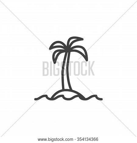 Palm Beach Line Icon Vector Photo