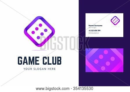 Logo And Business Card Template With Dice Sign. Vector Illustration For A Game Club, Casino, Poker C