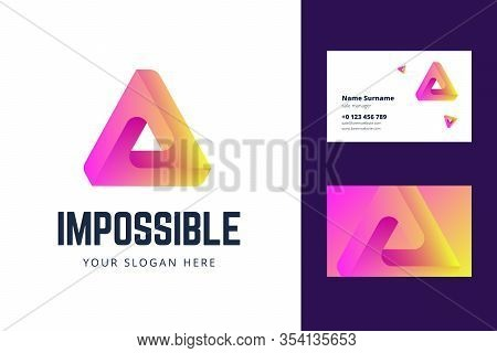 Logo And Business Card Template With An Impossible Triangle Sign. Vector Illustration In Modern Grad