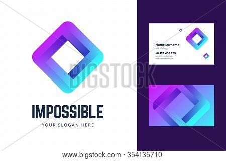 Logo And Business Card Template With An Impossible Square Sign. Vector Illustration In Modern Gradie